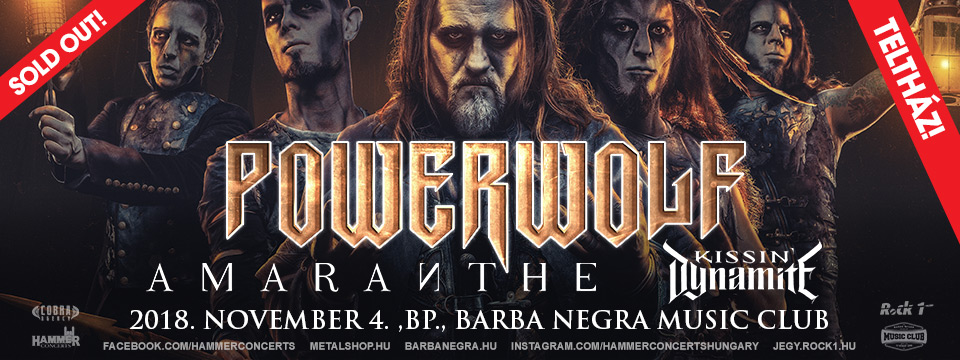 SOLD OUT - POWERWOLF - Wolfsnächte Tour 2018